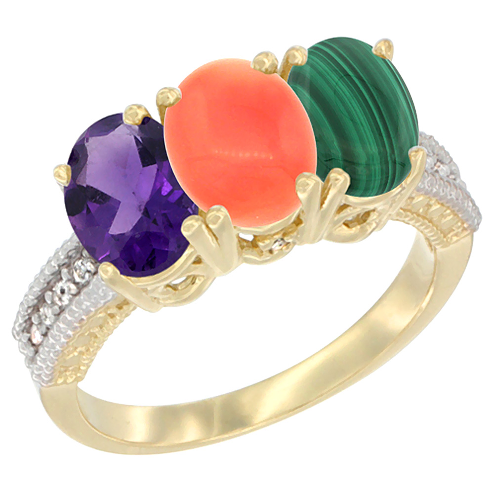 14K Yellow Gold Natural Amethyst, Coral & Malachite Ring 3-Stone 7x5 mm Oval Diamond Accent, sizes 5 - 10