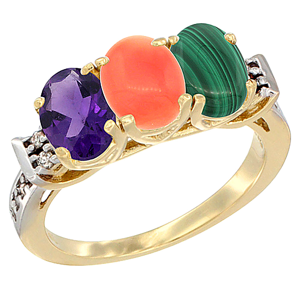10K Yellow Gold Natural Amethyst, Coral & Malachite Ring 3-Stone Oval 7x5 mm Diamond Accent, sizes 5 - 10
