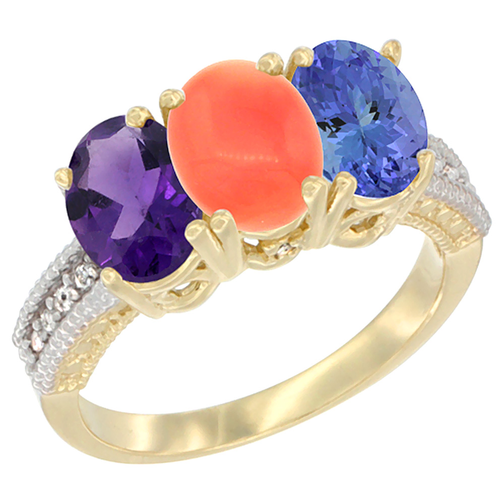 10K Yellow Gold Diamond Natural Amethyst, Coral & Tanzanite Ring Oval 3-Stone 7x5 mm,sizes 5-10