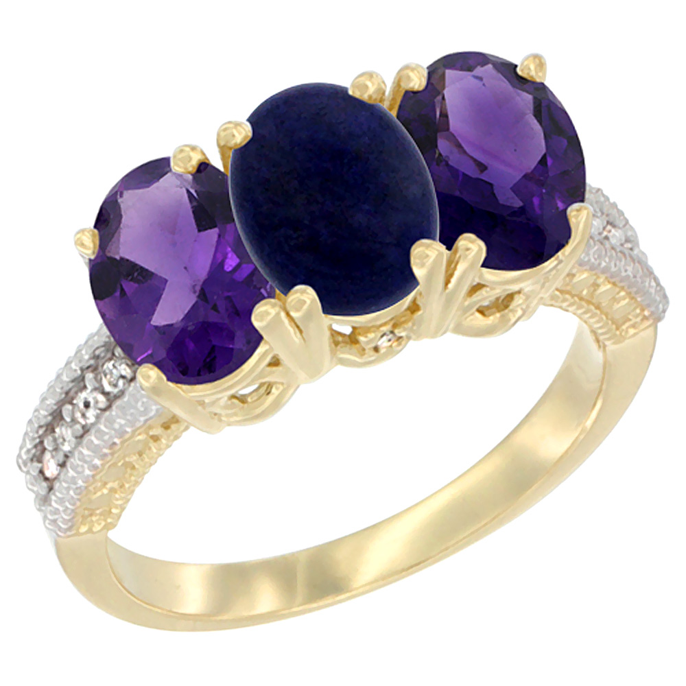10K Yellow Gold Diamond Natural Lapis & Amethyst Ring Oval 3-Stone 7x5 mm,sizes 5-10