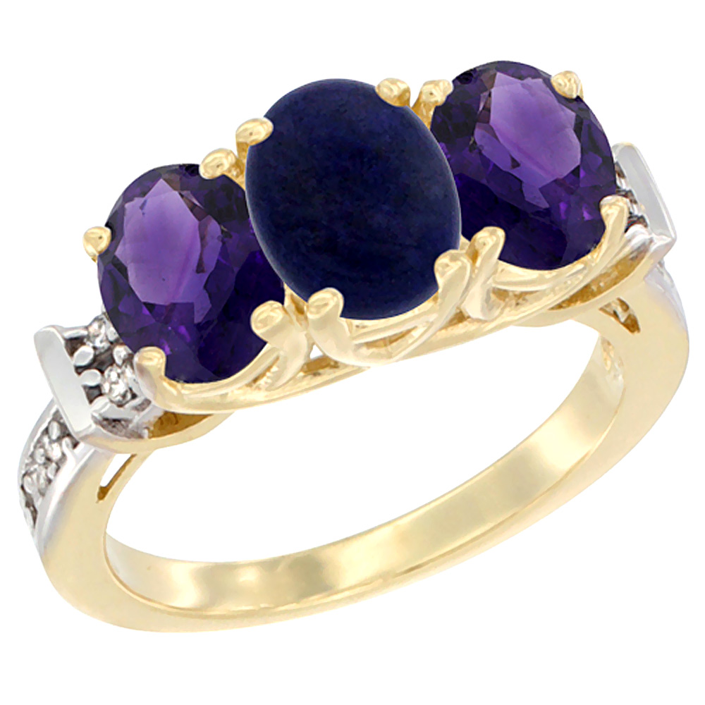 10K Yellow Gold Natural Lapis & Amethyst Sides Ring 3-Stone Oval Diamond Accent, sizes 5 - 10