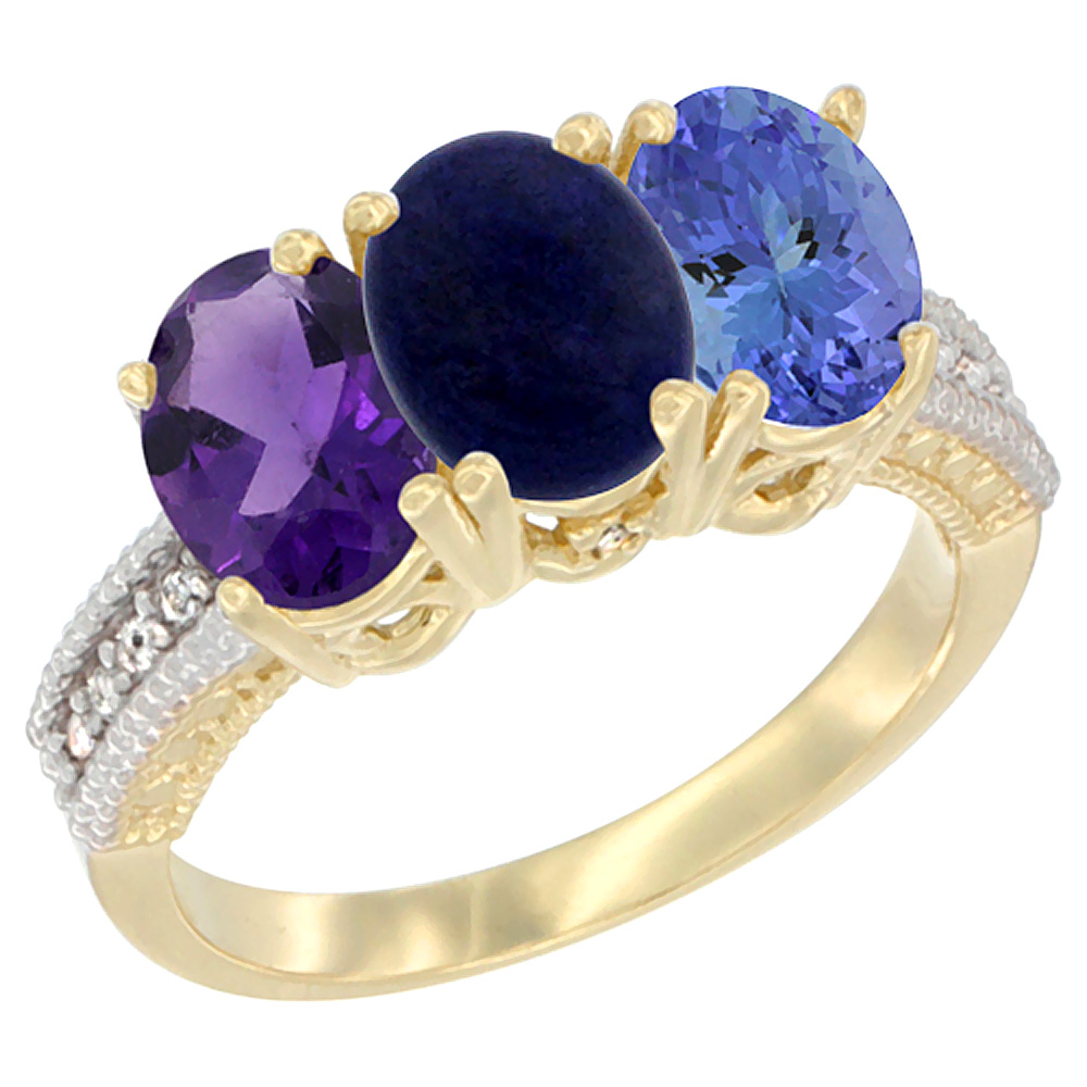 10K Yellow Gold Diamond Natural Amethyst, Lapis & Tanzanite Ring Oval 3-Stone 7x5 mm,sizes 5-10