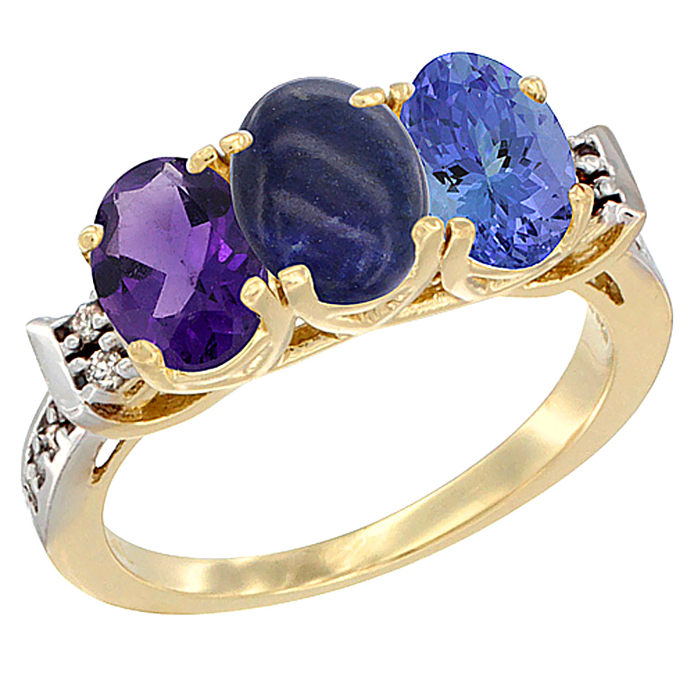 10K Yellow Gold Natural Amethyst, Lapis & Tanzanite Ring 3-Stone Oval 7x5 mm Diamond Accent, sizes 5 - 10