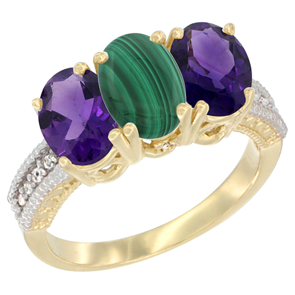 10K Yellow Gold Diamond Natural Malachite & Amethyst Ring Oval 3-Stone 7x5 mm,sizes 5-10