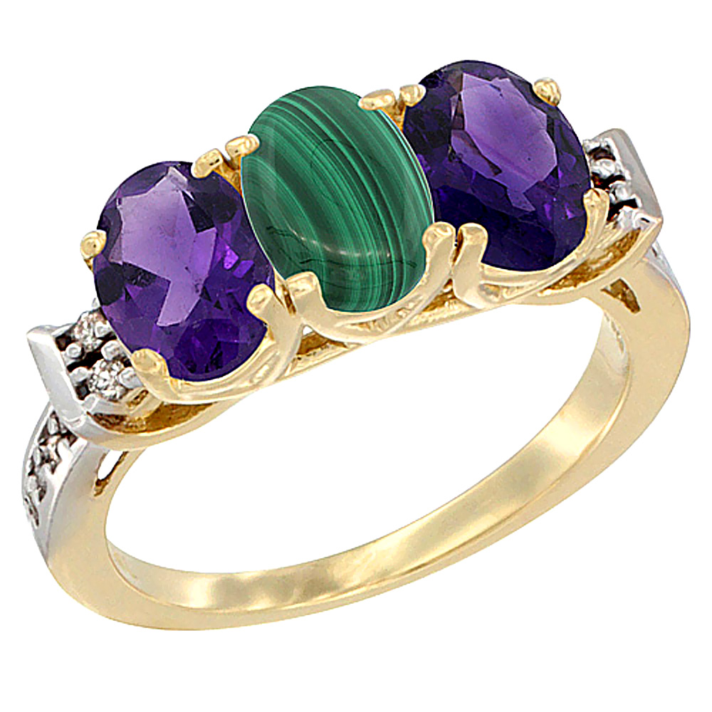 14K Yellow Gold Natural Malachite & Amethyst Sides Ring 3-Stone 7x5 mm Oval Diamond Accent, sizes 5 - 10