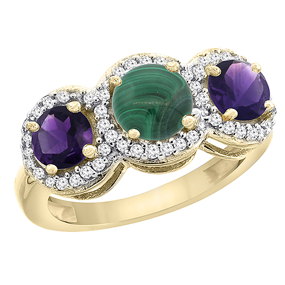 10K Yellow Gold Natural Malachite & Amethyst Sides Round 3-stone Ring Diamond Accents, sizes 5 - 10