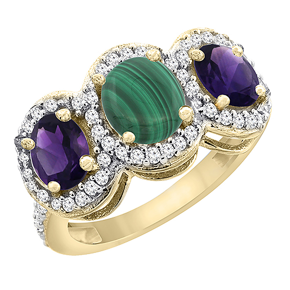 10K Yellow Gold Natural Malachite & Amethyst 3-Stone Ring Oval Diamond Accent, sizes 5 - 10