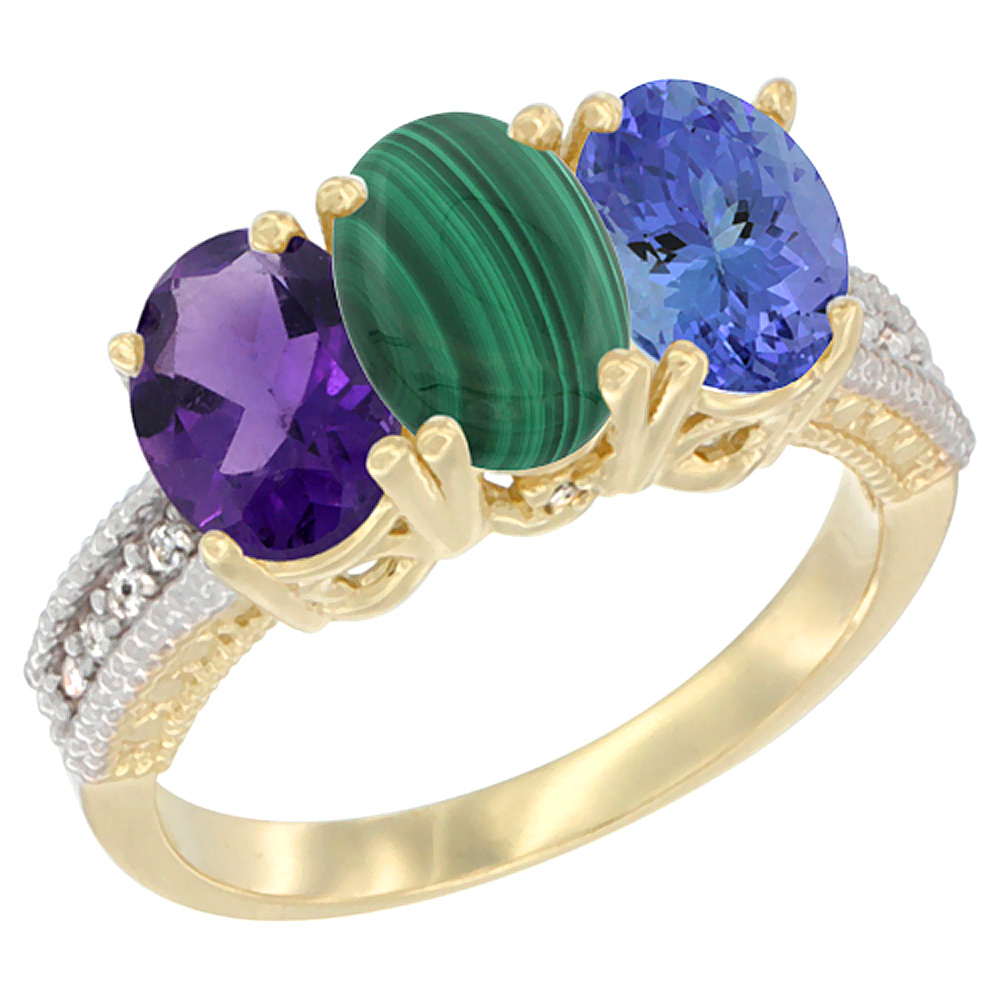 10K Yellow Gold Diamond Natural Amethyst, Malachite & Tanzanite Ring Oval 3-Stone 7x5 mm,sizes 5-10