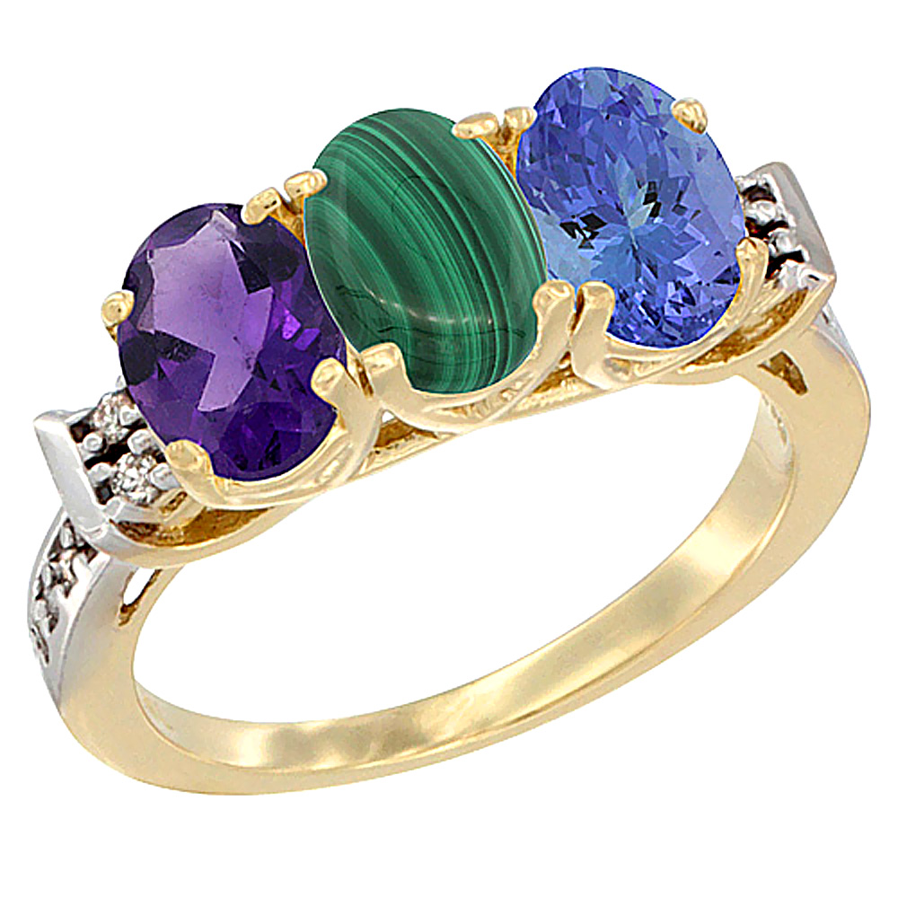 14K Yellow Gold Natural Amethyst, Malachite & Tanzanite Ring 3-Stone 7x5 mm Oval Diamond Accent, sizes 5 - 10