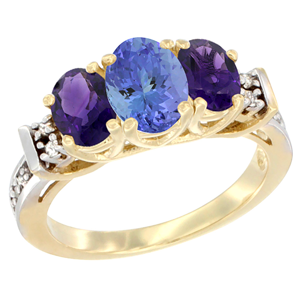 10K Yellow Gold Natural Tanzanite & Amethyst Ring 3-Stone Oval Diamond Accent