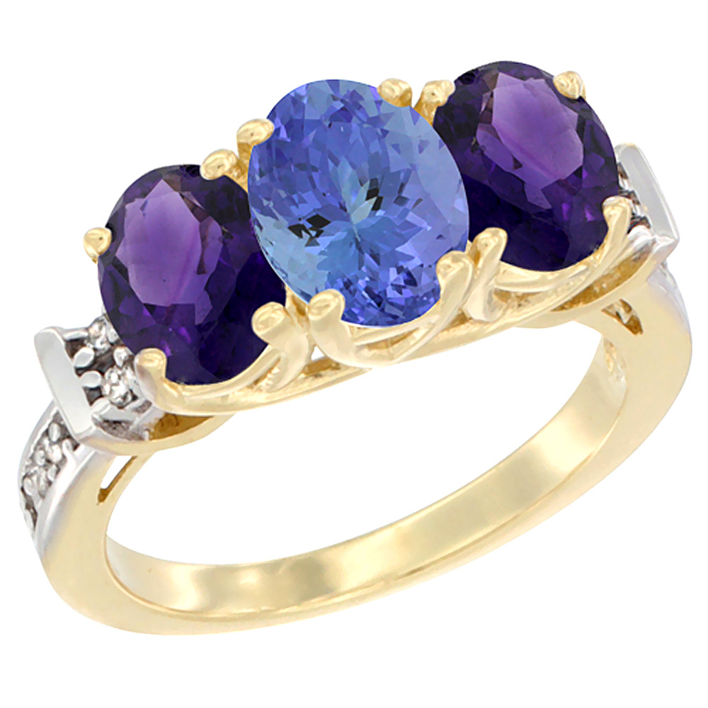 10K Yellow Gold Natural Tanzanite & Amethyst Sides Ring 3-Stone Oval Diamond Accent, sizes 5 - 10
