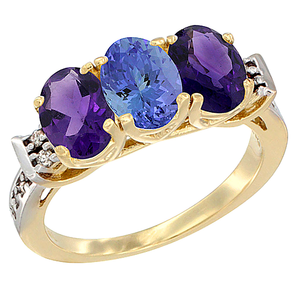 10K Yellow Gold Natural Tanzanite & Amethyst Sides Ring 3-Stone Oval 7x5 mm Diamond Accent, sizes 5 - 10