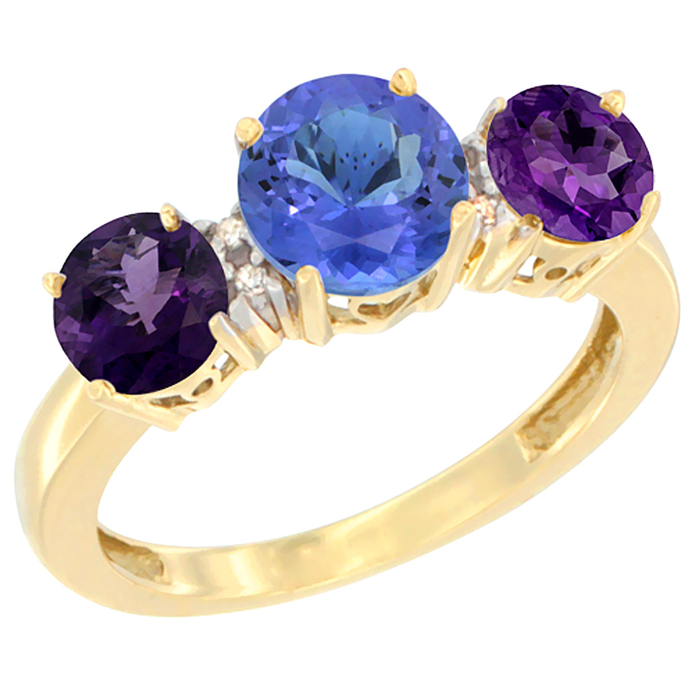 10K Yellow Gold Round 3-Stone Natural Tanzanite Ring & Amethyst Sides Diamond Accent, sizes 5 - 10