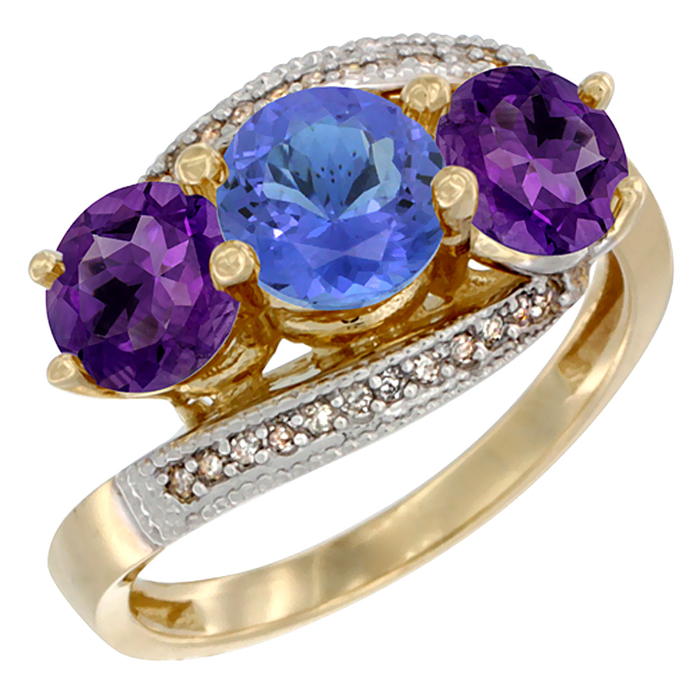 10K Yellow Gold Natural Tanzanite & Amethyst Sides 3 stone Ring Round 6mm Diamond Accent, sizes 5 - 10