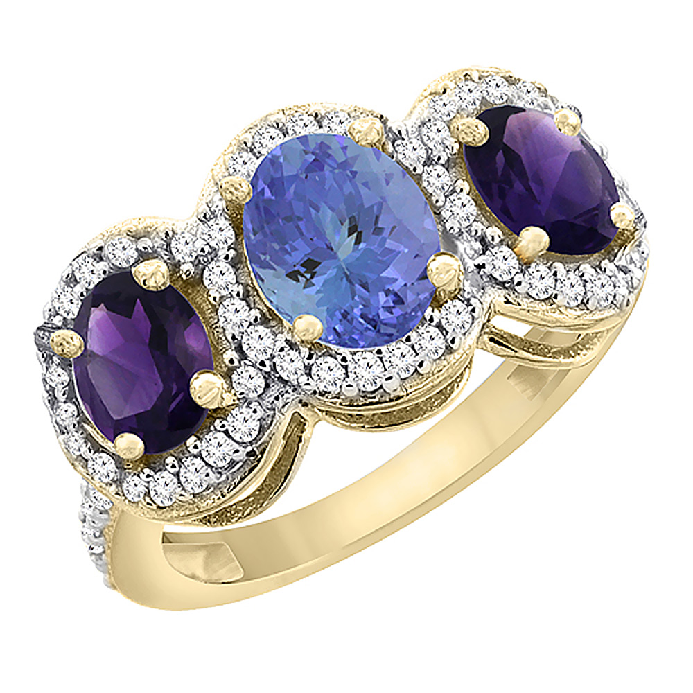10K Yellow Gold Natural Tanzanite & Amethyst 3-Stone Ring Oval Diamond Accent, sizes 5 - 10