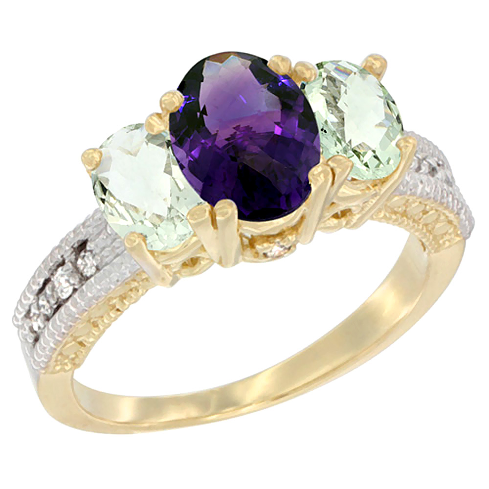10K Yellow Gold Ladies Oval Natural Amethyst Ring 3-stone with Green Amethyst Sides Diamond Accent