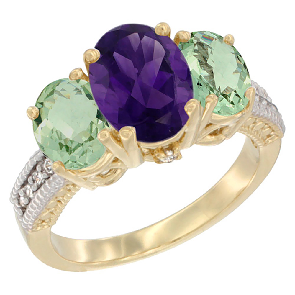 10K Yellow Gold Natural Amethyst Ring Ladies 3-Stone Oval 8x6mm with Green Amethyst Sides Diamond Accent, sizes 5 - 10