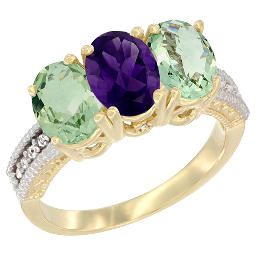14K Yellow Gold Natural Amethyst & Green Amethyst Ring 3-Stone 7x5 mm Oval Diamond Accent, sizes 5 - 10