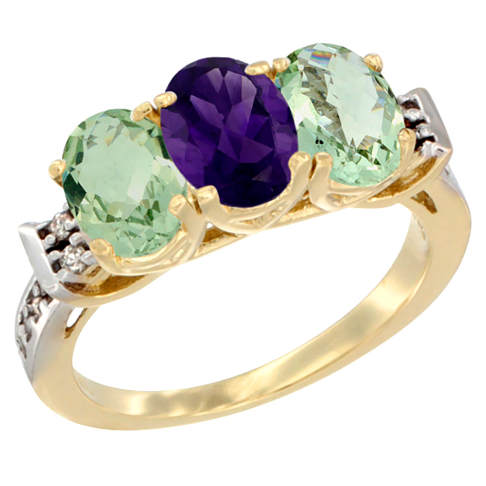 14K Yellow Gold Natural Amethyst & Green Amethyst Sides Ring 3-Stone 7x5 mm Oval Diamond Accent, sizes 5 - 10