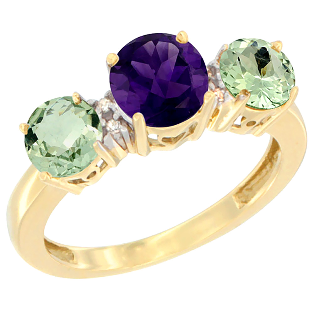 14K Yellow Gold Round 3-Stone Natural Amethyst Ring & Green Amethyst Sides Diamond Accent, sizes 5 - 10