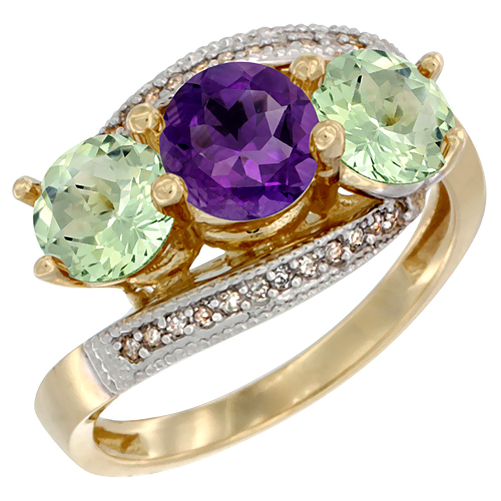 10K Yellow Gold Natural Purple & Green Amethyst Sides 3 stone Ring Round 6mm Diamond Accent, sizes 5 - 10