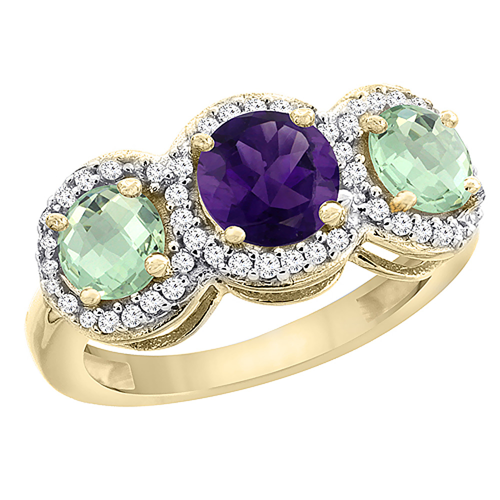 10K Yellow Gold Natural Amethyst & Green Amethyst Sides Round 3-stone Ring Diamond Accents, sizes 5 - 10