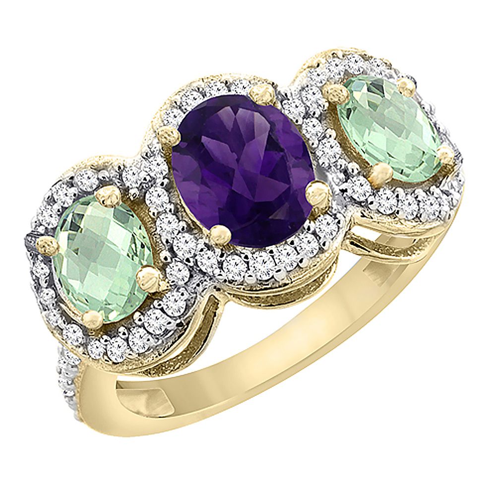 10K Yellow Gold Natural Amethyst & Green Amethyst 3-Stone Ring Oval Diamond Accent, sizes 5 - 10