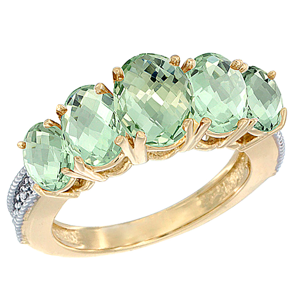 14K Yellow Gold Diamond Natural Green Amethyst Ring 5-stone Oval 8x6 Ctr,7x5,6x4 sides, sizes 5 - 10