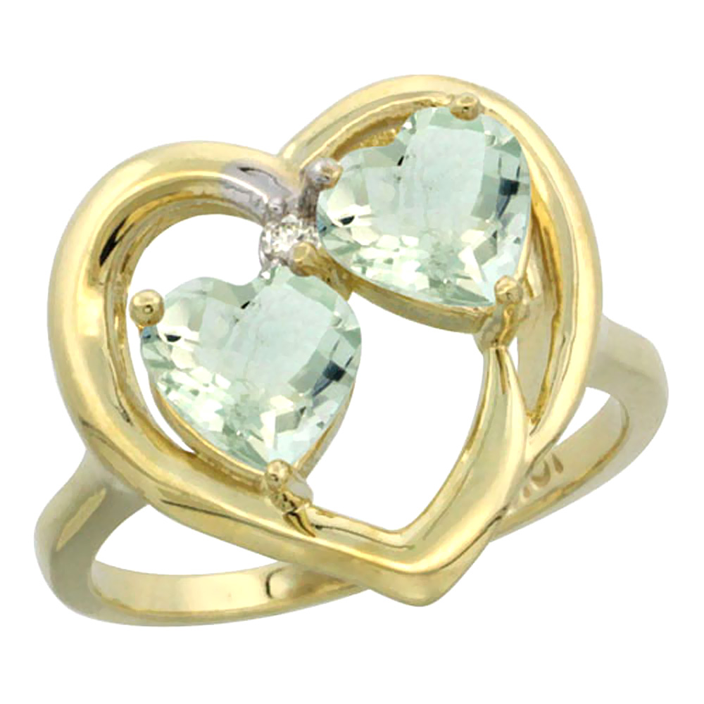 14K Yellow Gold Diamond Two-stone Heart Ring 6mm Natural Green Amethyst, sizes 5-10
