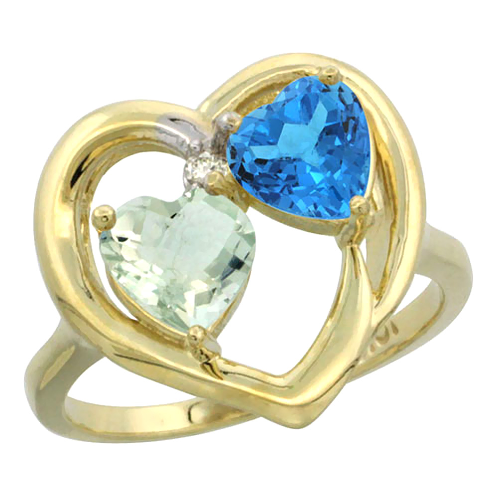 14K Yellow Gold Diamond Two-stone Heart Ring 6mm Natural Green Amethyst & Swiss Blue Topaz, sizes 5-10