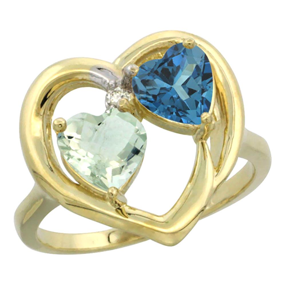 14K Yellow Gold Diamond Two-stone Heart Ring 6mm Natural Green Amethyst & London Blue Topaz, sizes 5-10