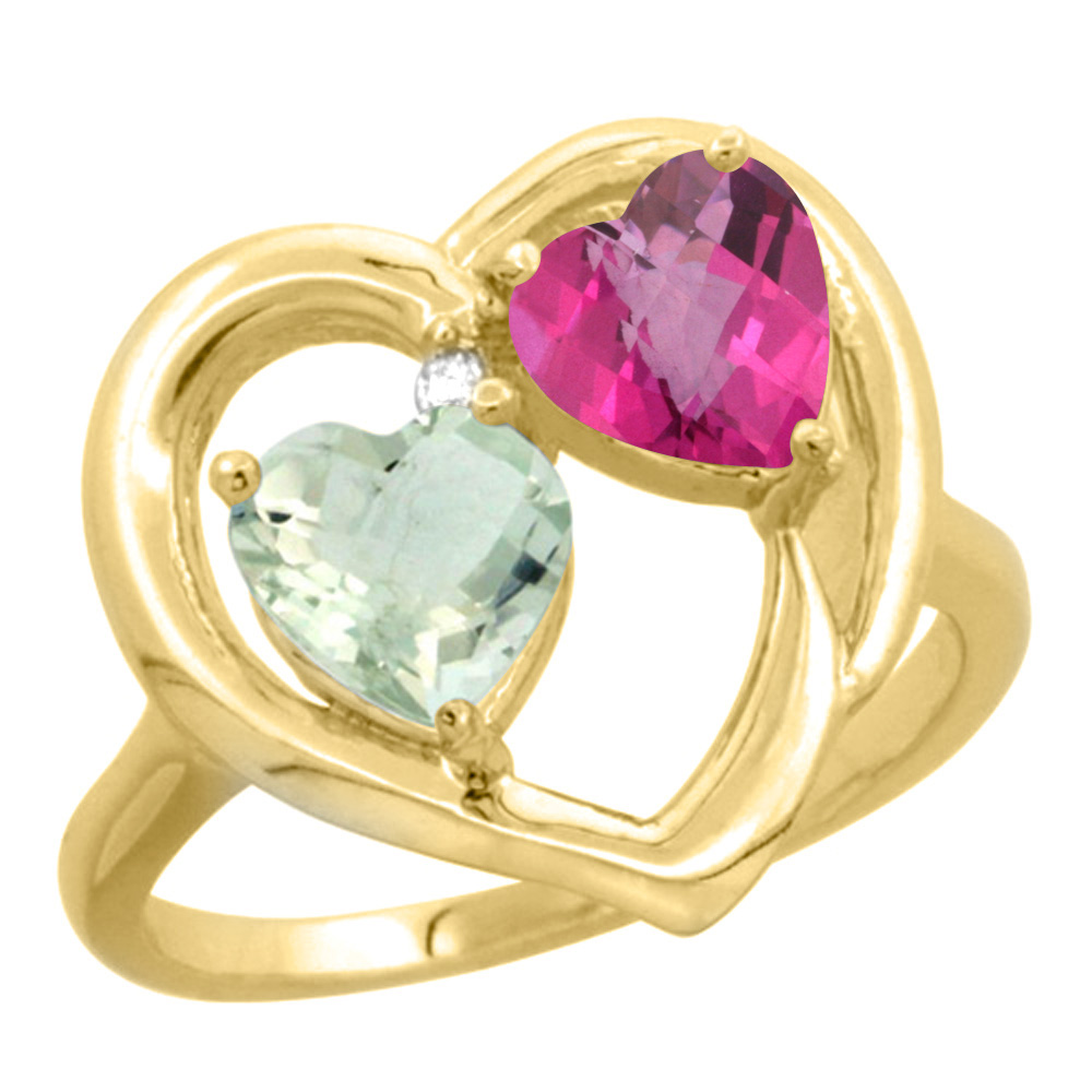 14K Yellow Gold Diamond Two-stone Heart Ring 6mm Natural Green Amethyst & Pink Topaz, sizes 5-10