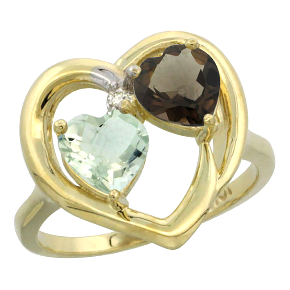 14K Yellow Gold Diamond Two-stone Heart Ring 6mm Natural Green Amethyst & Smoky Topaz, sizes 5-10