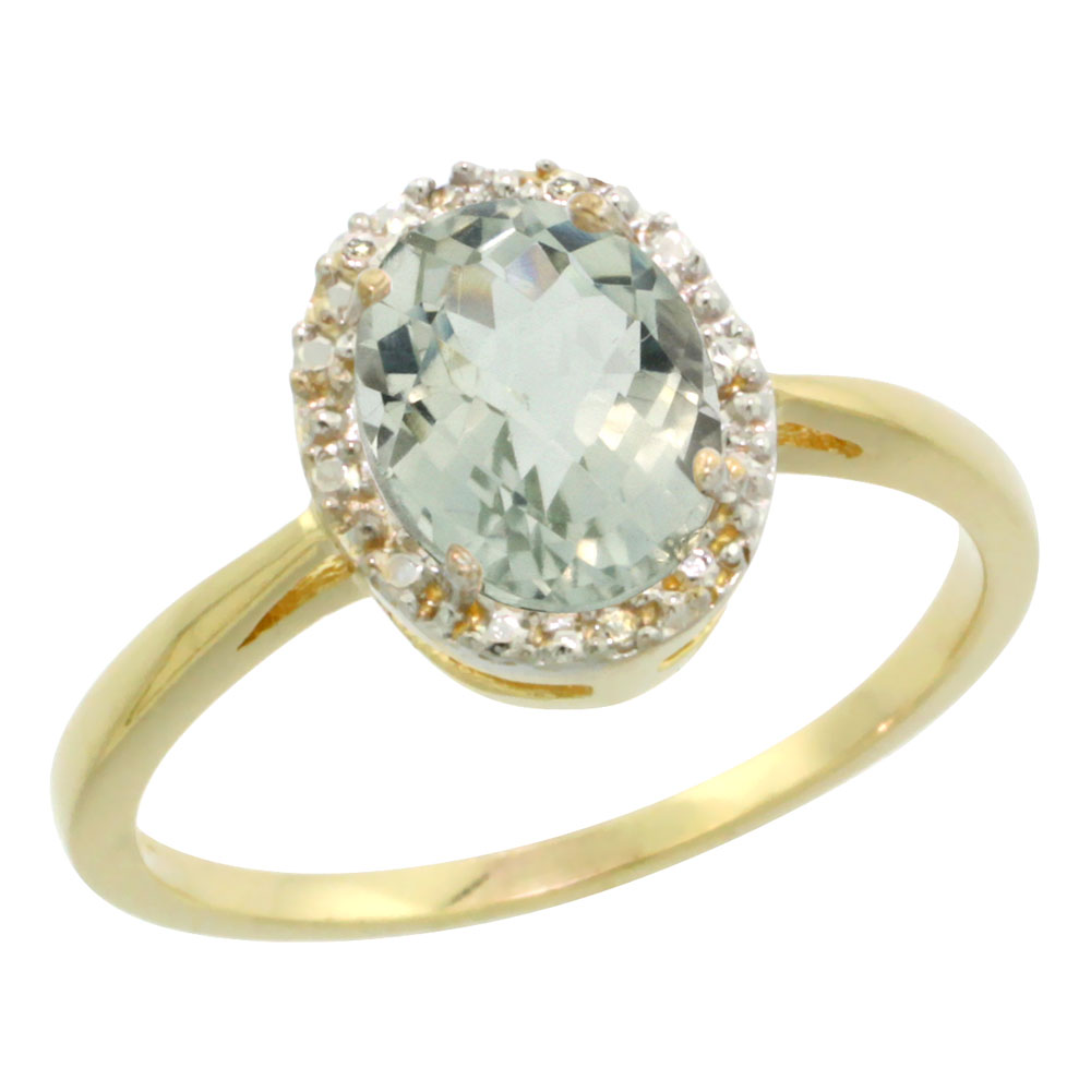 10K Yellow Gold Natural Green Amethyst Diamond Halo Ring Oval 8X6mm, sizes 5-10