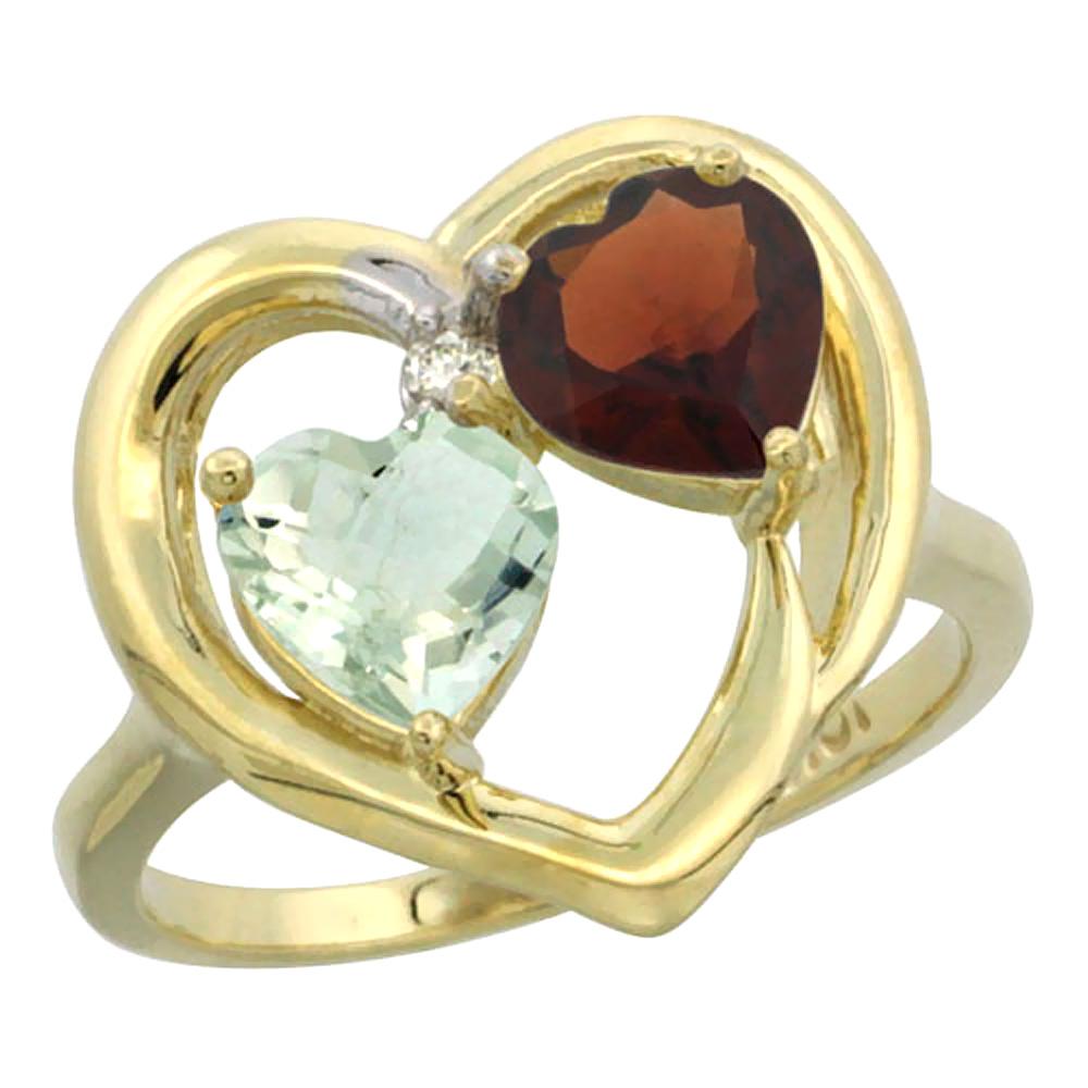 14K Yellow Gold Diamond Two-stone Heart Ring 6mm Natural Green Amethyst & Garnet, sizes 5-10
