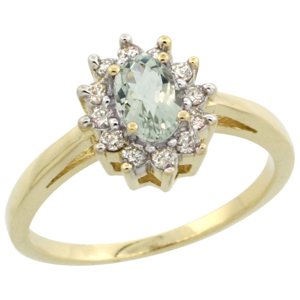 10K Yellow Gold Natural Green Amethyst Flower Diamond Halo Ring Oval 6x4 mm, sizes 5-10