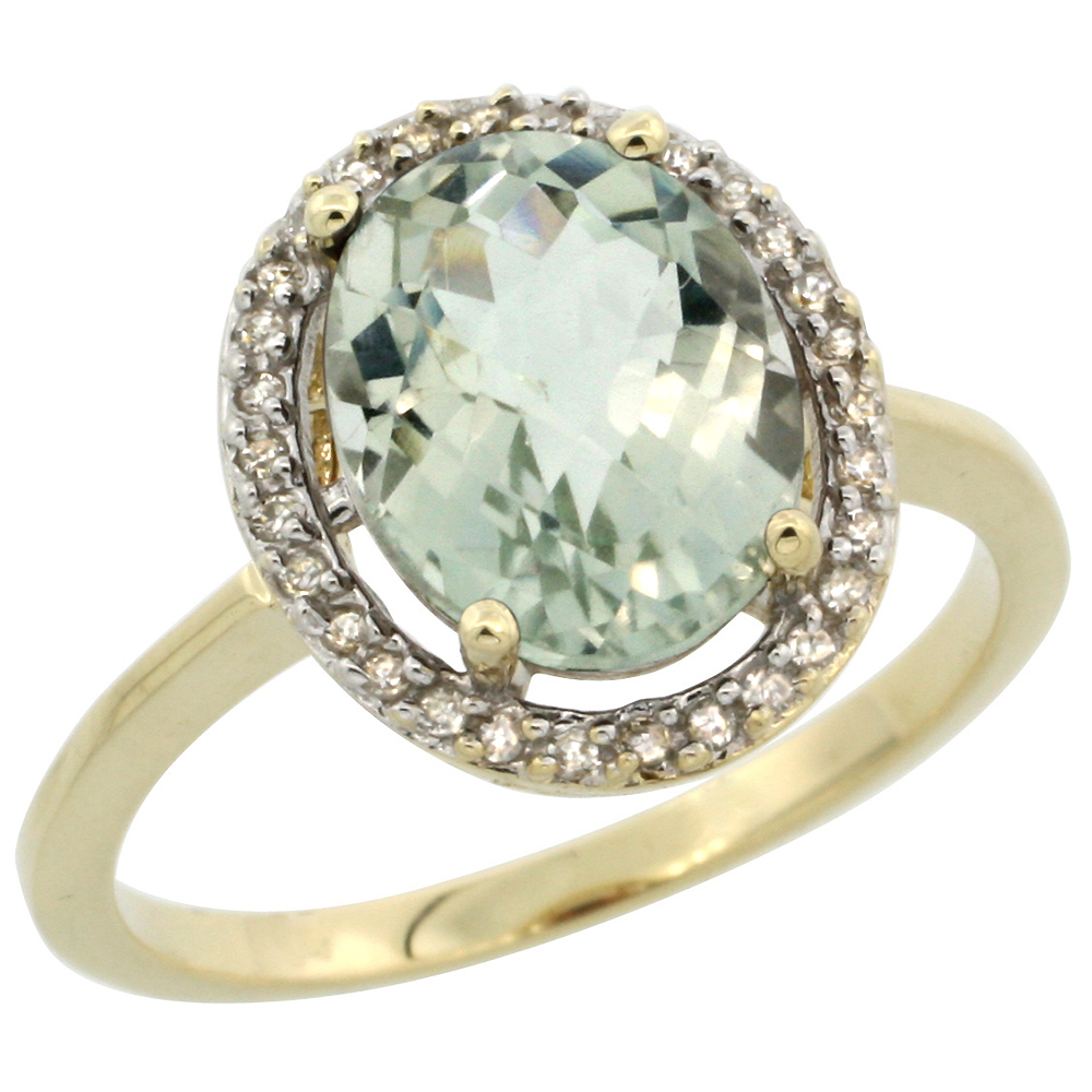 10K Yellow Gold Diamond Halo Natural Green Amethyst Engagement Ring Oval 10x8 mm, sizes 5-10