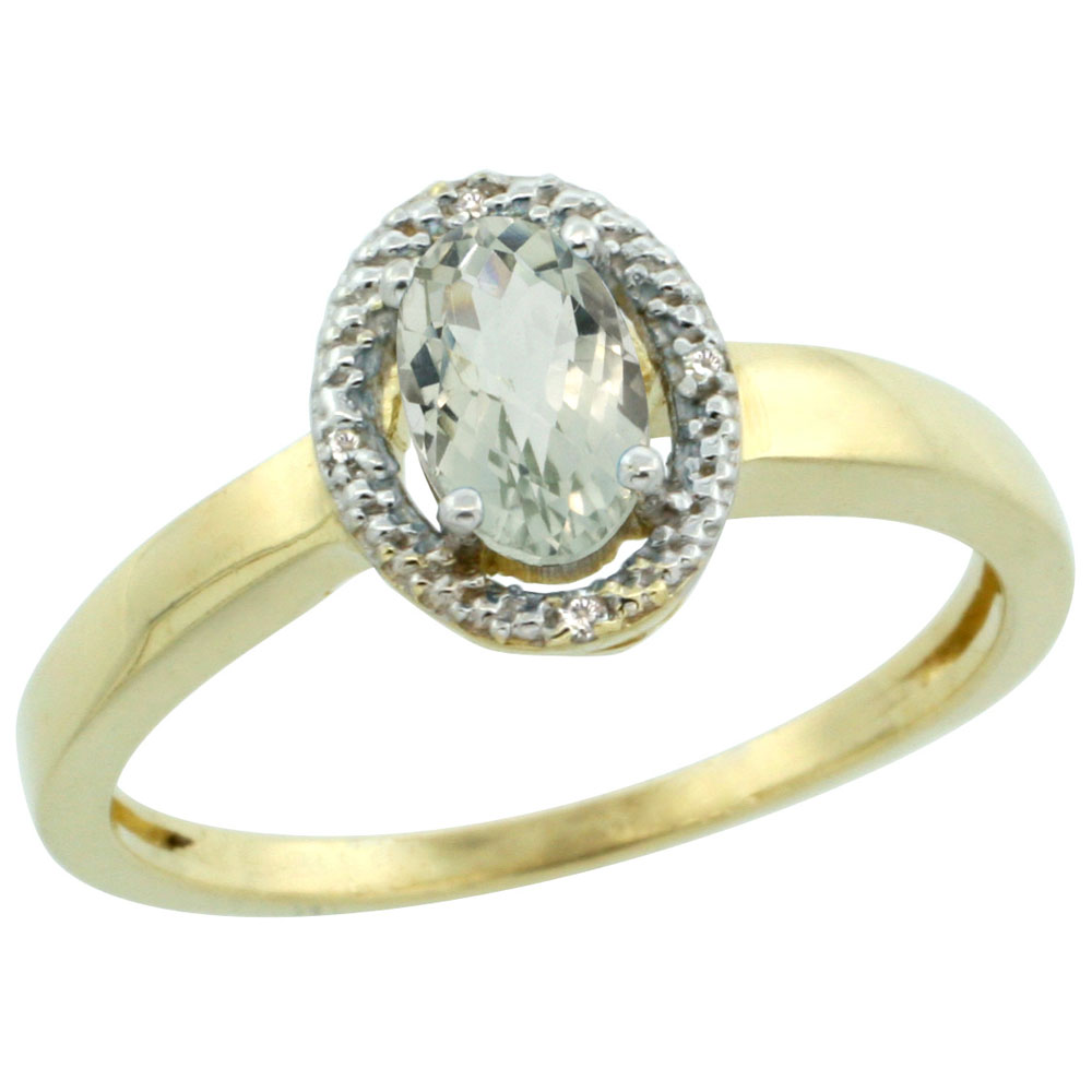 14K Yellow Gold Diamond Halo Natural Green Amethyst Engagement Ring Oval 6X4 mm, sizes 5-10