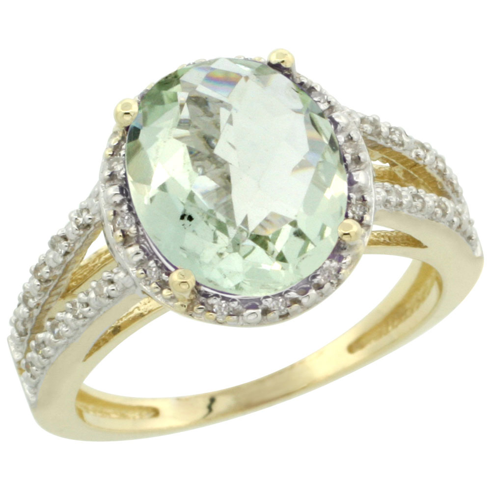 10K Yellow Gold Diamond Natural Green Amethyst Ring Oval 11x9mm, sizes 5-10