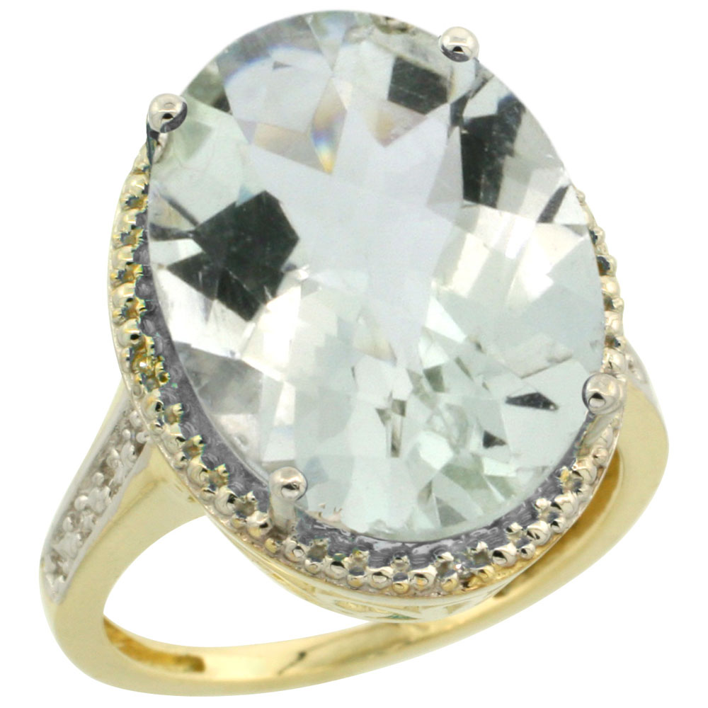 10K Yellow Gold Diamond Natural Green Amethyst Ring Ring Oval 18x13mm, sizes 5-10