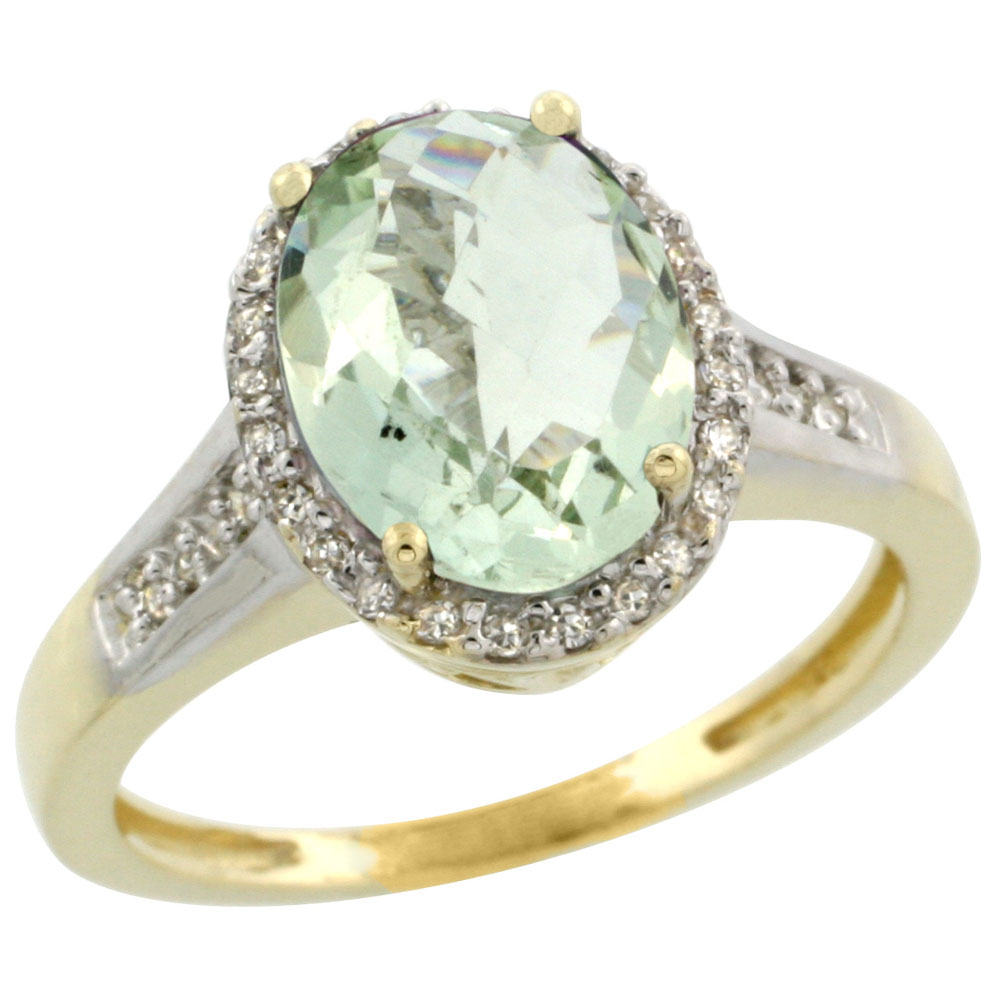 10K Yellow Gold Diamond Natural Green Amethyst Engagement Ring Oval 10x8mm, sizes 5-10