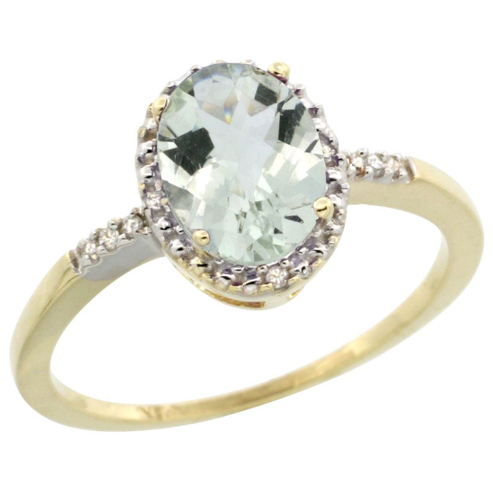 10K Yellow Gold Diamond Natural Green Amethyst Ring Ring Oval 8x6mm, sizes 5-10