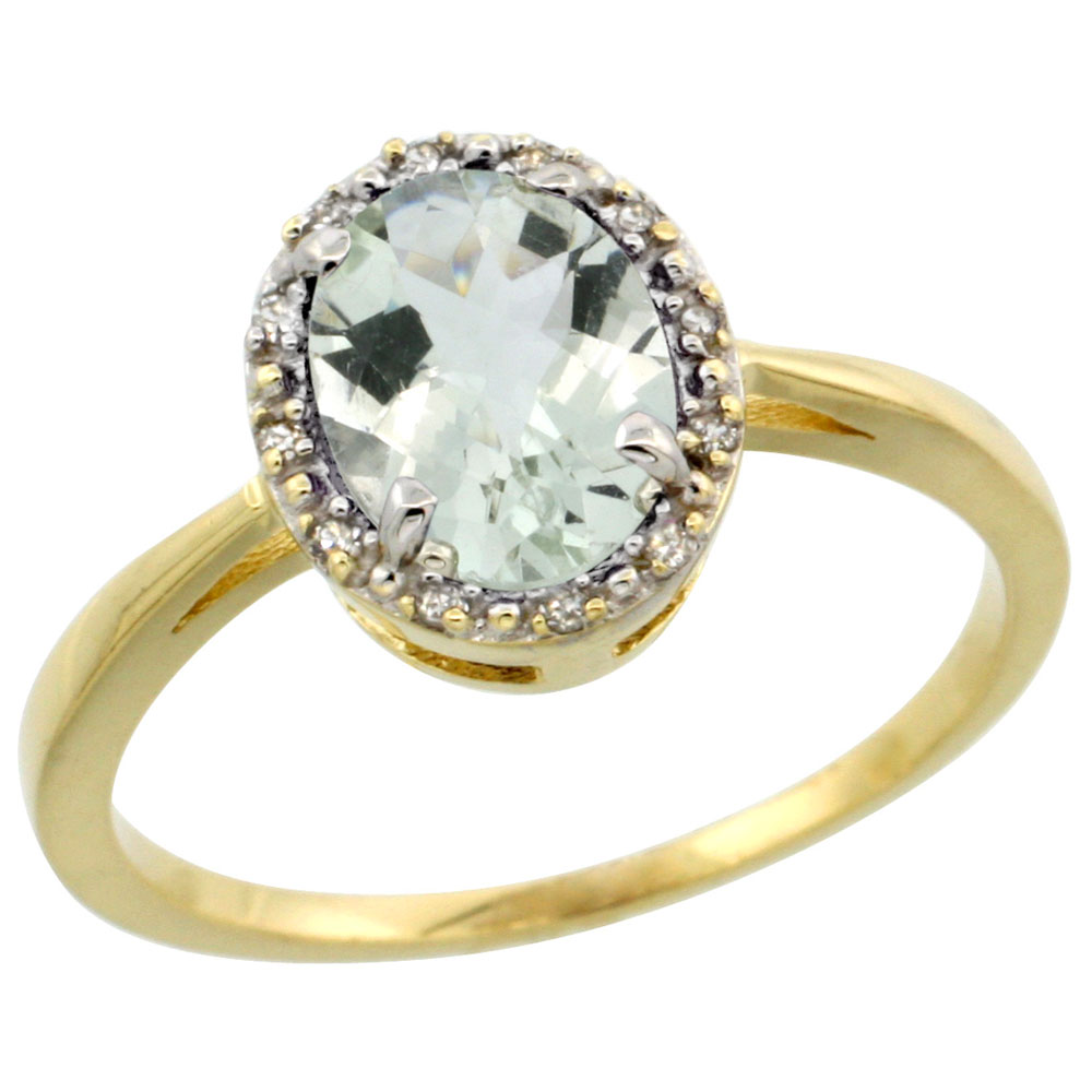 14K Yellow Gold Natural Green Amethyst Ring Oval 8x6 mm Diamond Halo, sizes 5-10