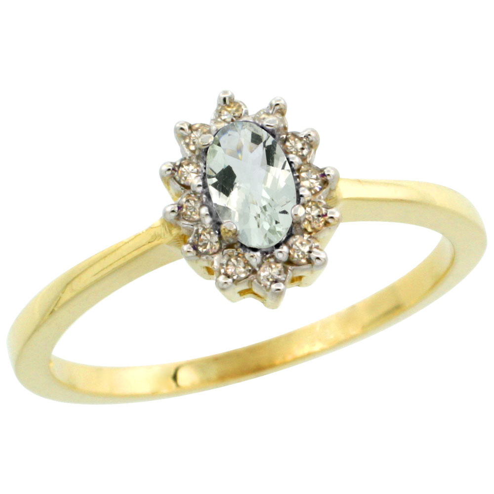 10k Yellow Gold Natural Green Amethyst Ring Oval 5x3mm Diamond Halo, sizes 5-10