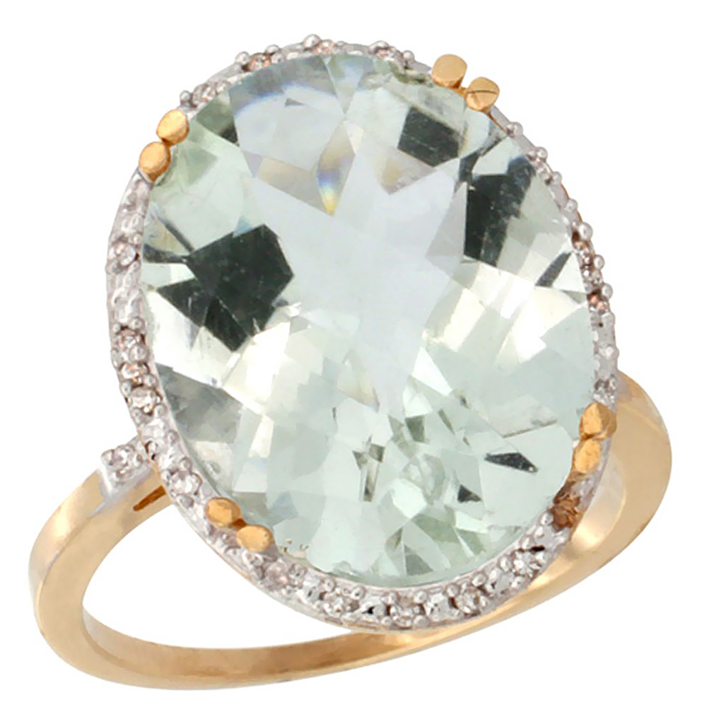 14K Yellow Gold Natural Green Amethyst Ring Large Oval 18x13mm Diamond Halo, sizes 5-10