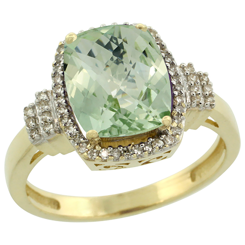 14K Yellow Gold Natural Green Amethyst Ring Cushion-cut 9x7mm Diamond Halo, sizes 5-10