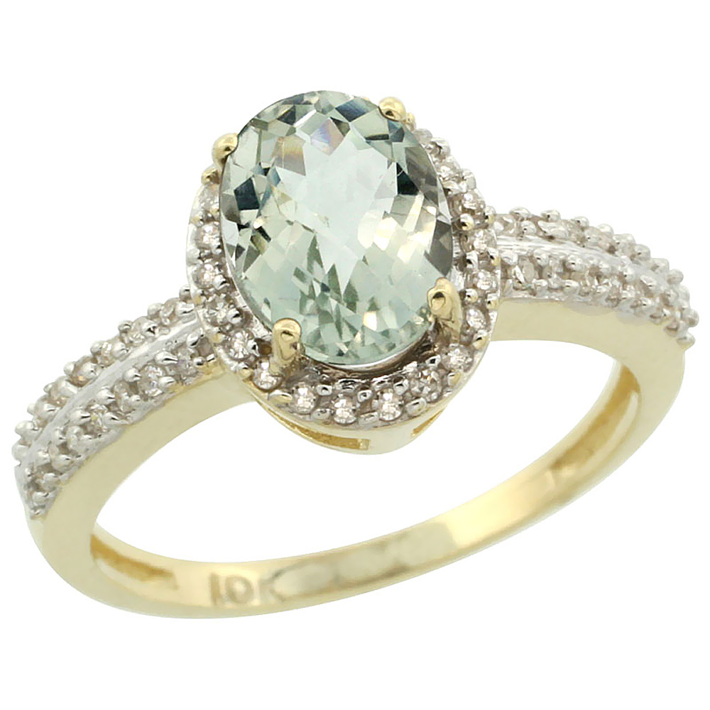 14K Yellow Gold Natural Green Amethyst Ring Oval 8x6mm Diamond Halo, sizes 5-10