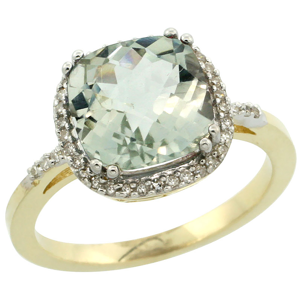 14K Yellow Gold Diamond Natural Green Amethyst Ring Cushion-cut 9x9mm, sizes 5-10