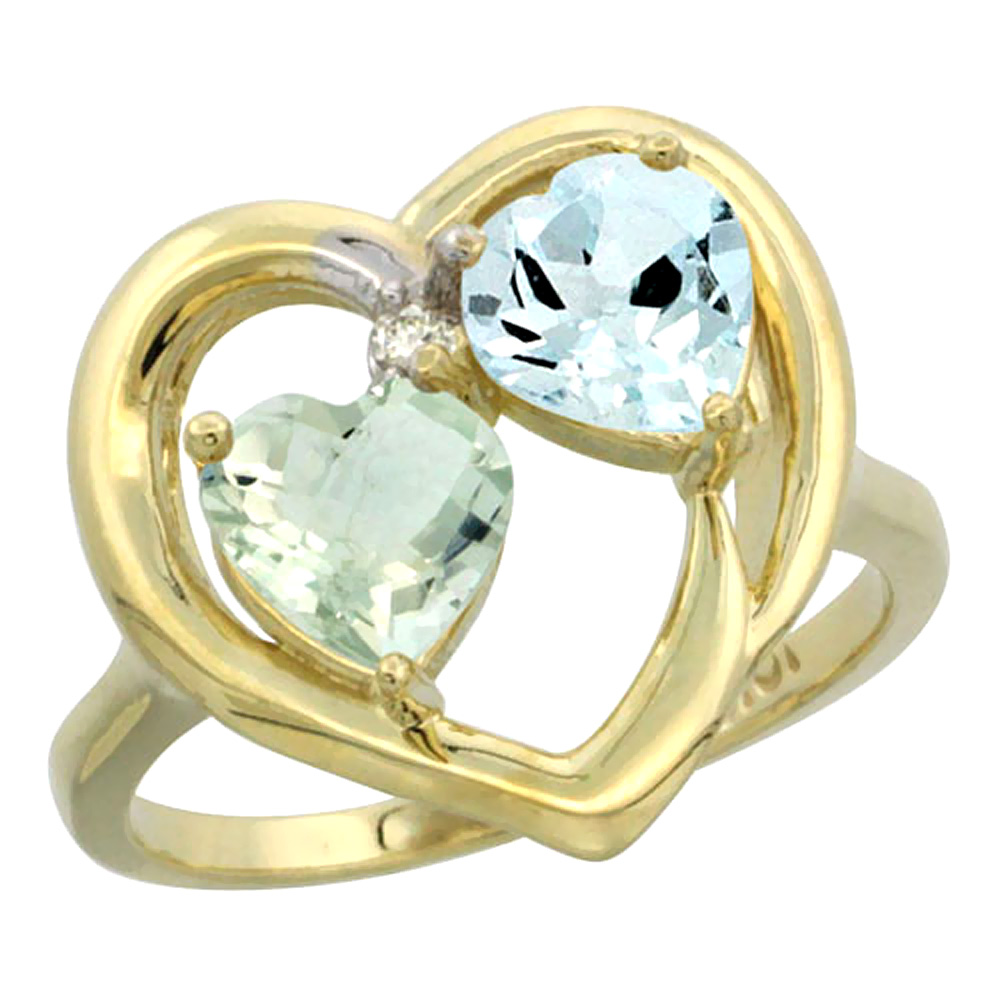 14K Yellow Gold Diamond Two-stone Heart Ring 6mm Natural Green Amethyst & Aquamarine, sizes 5-10