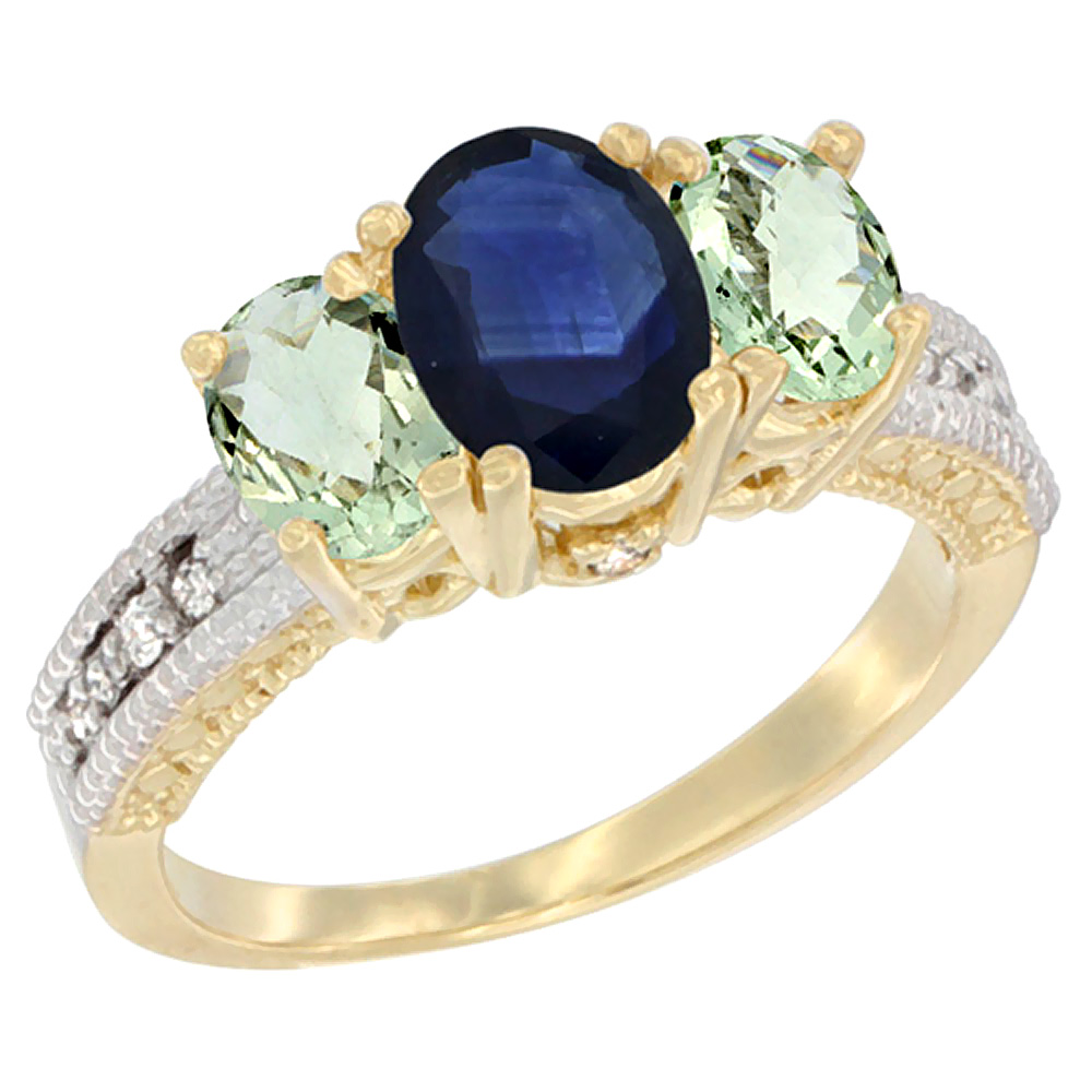 10K Yellow Gold Ladies Oval Natural Blue Sapphire Ring 3-stone with Green Amethyst Sides Diamond Accent